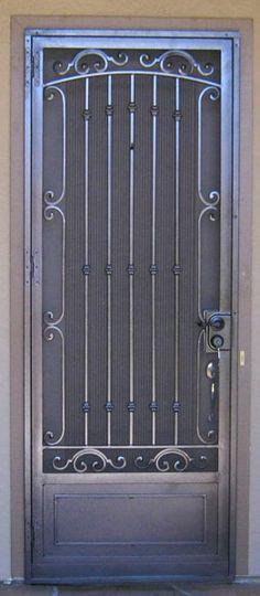 Entry Doors Archives - Whiting Iron and Great Gates in Phoenix AZ Wrought Iron Security Doors, Steel Security Doors, Wrought Iron Doors, Gate Design, Door Design, Metal Garden Gates, Window Bars, Steel Doors, Entry Doors