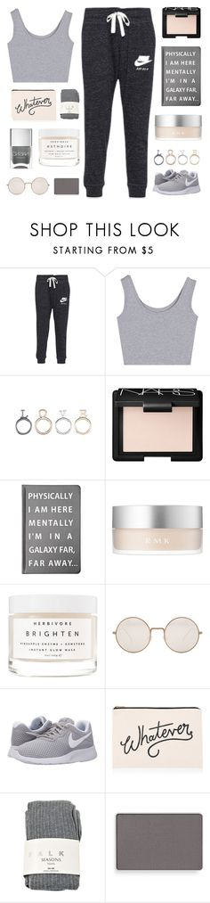 """sleep tonight"" by for-the-love-of-pink ❤ liked on Polyvore featuring NIKE, NARS Cosmetics, Forever 21, RMK, Herbivore, Illesteva, ALPHABET BAGS, Falke, Mary Kay and Nails Inc."