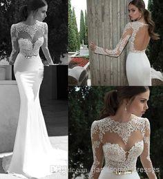 Wholesale A-Line Wedding Dresses - Buy New Sheer Wedding Dresses Berta Winter 2014 Illusion Bateau Round Back Applique Gold Belt Sweep Train Mermaid Wedding Bridal Dresses Gowns, $105.92   DHgate