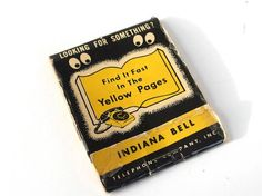Vintage 1950's Indiana Bell / Yellow Pages Glasses Cleaning Tissues in Matchbook Advertising Gimmick