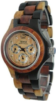 Tense Wood Watch Mens Round Multicolored 3 Dial Hour, Date, G4300IDM Tense Wood Watches. $188.77. Each watch is unique with no other one like it due to the natural wood grains. ONLY three eye wood bracelet wrist watch in the world. Water resistant, and very light weight and comfortable. Stainless Steel movement from Myota(maker of Citizen)