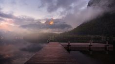 Smoke on the Water. Hallstatter See, Austria. #austria #dock #europe #fineart #fineartphotography #HallstatterSee #lake #landscape #forest #landscapephotography #marcoromani #lightglow #marcoromaniphotography #morning #mist #mountains #morninlight #Salzkammergut #reflections #sunrise #Nikon #Feisol #Nikkor #NikonD700 #HallstätterSee #clouds #jetty
