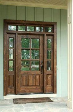 6 8 single knotty alder door w sidelights and transom clear beveled glass photographed by square top doors farmhouse exterior modern front styles Wooden Front Doors, The Doors, Panel Doors, Front Doors With Windows, Screen Doors, Custom Wood Doors, Transom Windows, House Windows, Knotty Alder Doors