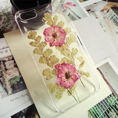 Handmade Real Pressed Flowers Double Dry Rose Phone Case