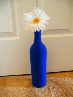 Yarn Wrapped Wine Bottles  Centerpiece Home Decor by yarnITdarnIT, $18.00