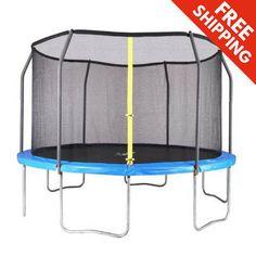 AirZone 12' Backyard Round Trampoline Safety Net Garden Fun Outdoor Play Sport