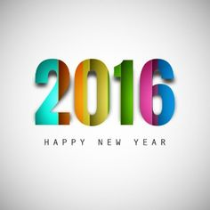 Colorful new year 2016 text