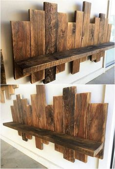 Delightful Wood Pallet DIY Recycling IdeasThanks for this post.Designing of the wood pallet wall shelf piece is considered to be one of the most prominent furniture item in most of the houses. Such style of the wall shelf designs# Delightful Pallet Wall Decor, Pallet Wall Shelves, Wooden Pallet Projects, Wooden Pallet Furniture, Wooden Pallets, Pallet Ideas, Diy Wood Shelves, Shelf Wall, Palet Shelf