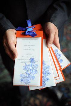 blue and orange wedding invitations