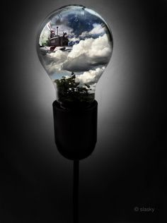 Made by: Slasky - (World in Lightbulb) Light Bulb Art, Lamp Light, Smoke Photography, Photography Ideas, One Piece Anime, 2d Art, My Favorite Image, Dark Backgrounds, My World