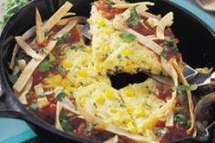 Southwest Corn Frittata with Crunchy Tortilla Ribbons