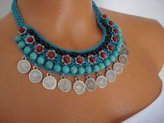 Tuquoise Necklace Crochet Necklace Spring-Summer by FIGENTAKI