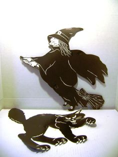 Vintage Halloween Die Cuts  Lot of Two Witch Black by junquegypsy, $9.60