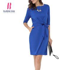 Summer Women Dress Sleeve Bodycon Half Brief Style Solid Color Tie Belt Elegant Ladies Formal Plain Dress Bubblekiss