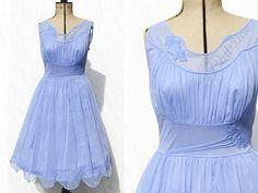 1950s Nightdress  Vintage Nylon Nightgown  Boudoir Lingerie