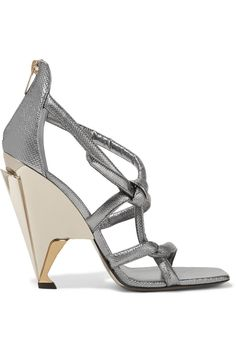 JIMMY CHOO Kissy Metallic Textured-Leather Sandals. #jimmychoo #shoes #sandals