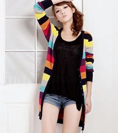 New Fashion Rainbow Stripe Cardigan Sweater