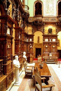 Peles Castle, Romania by Eduard Wichner. Peles Castle, Medieval Castle, Mansion Interior, Palace Interior, Beautiful Castles, Beautiful Places, Inside Castles, Victorian Design, Victorian Manor