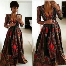 Dashiki Prom Dress, African Clothing, African Fashion, African Party Dress, Dashiki Maxi Dress by on Etsy African Party Dresses, African Wedding Dress, African Dresses For Women, African Print Dresses, African Attire, African Wear, African Women, African Prints, Prom Dresses