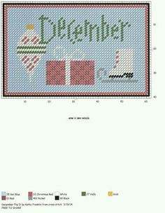 December X-stitch sign Counted Cross Stitch Patterns, Cross Stitch Charts, Cross Stitch Designs, Cross Stitch Embroidery, Plastic Canvas Christmas, Plastic Canvas Crafts, Plastic Canvas Patterns, Months In A Year, 12 Months