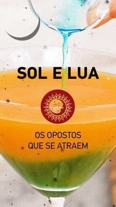 Confira a receita de Drink Sol e Lua Rum Recipes, Drinks Alcohol Recipes, Non Alcoholic Drinks, Bar Drinks, Smoothie Recipes, Cocktails, Aperol Drinks, Cocktail Drinks, Halloween Drinks