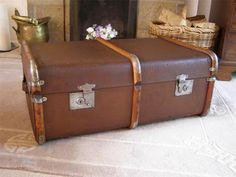 Vintage RETRO BENTWOOD BOUND WOODEN STEAMER TRUNK LUGGAGE SUITCASE ...