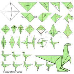 how to make origami dinosaur step by step Origami Design, Origami Plane, Instruções Origami, Origami Star Box, Origami Ball, Origami Fish, Paper Crafts Origami, Oragami, Origami Stars