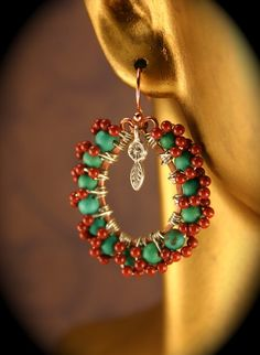 Bohemian Turquoise Jasper Earrings Hand by PaisleyMossBoutique, $22.00