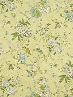 "ORIENTAL BIRD CELERY   Product ID:  GPJ BP10384-1 Manufacturer:  G P & J Baker Available Colors:  Width:  54"" Content:  100% Cotton Horizontal Repeat:  35"" Vertical Repeat:  31"" Usage:  Drapery"