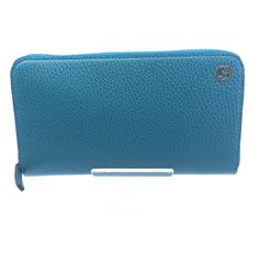 0bc39bde4654 Gucci Cobalt Blue Teal Pebbled Leather Zip Around Wallet GG Charm Logo  449397 #stellasaksa