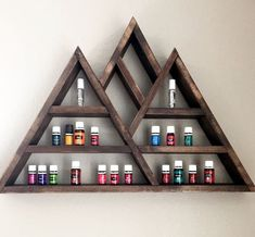 Excited to share this item from my shop: Large Mountain Shelf, Mountain Shelf, Triangle Shelf, Essential Oil Shelf Essential Oil Rack, Essential Oil Storage, Unique Wall Shelves, Display Shelves, Display Cases, Shelving, Mountain Shelf, Mountain Rings, Triangle Shelf