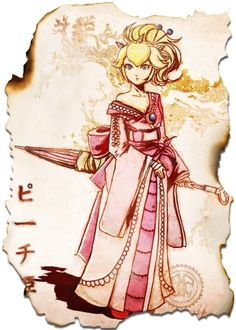 Geisha Princess Peach from Super Mario. Super Mario Bros, Super Mario Kunst, Super Smash Bros, Princesa Peach, Harmonie Mario, Character Art, Character Design, Nintendo Princess, Princess Zelda