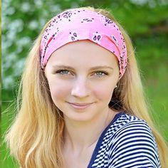 Strawberry Pink Bandana Wide Headband