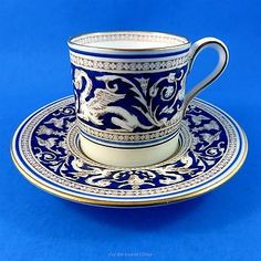 Cobalt-Blue-Wedgwood-Florentine-Demitasse-Tea-Cup-and-Saucer-Set