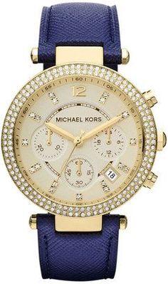 Michael Kors Watch, Women's Chronograph Parker Navy Leather Strap