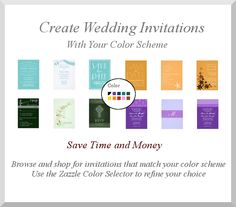 Wedding Planners - Choose Wedding Invitations to suit your planned wedding color themes. Browse all the examples in this board and hundreds more and choose a theme that suits your wedding.