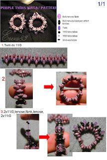 Purple twins minta/pattern from ewa83gyongyei.blogspot.nl