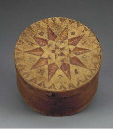 CIRCULAR POLYCHROME AND INCISE DECORATED LIDDED BOX AMERICAN, 19TH CENTURY