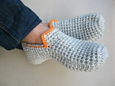 Crochet Slippers, Mens Loafers, Slippers for Men, House Shoes, Wool Slippers Socks, Cozy Slippers, Gray Slippers, Gift for Men, Gift Idea by UnaCreations on Etsy
