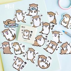 Kawaii Raccoon Stickers Cute Stationery Stickers Bullet Journal Paper Sticker For Kids DIY Decorations Scrapbooking Diary Stickers Kawaii, Kawaii Pens, Cat Stickers, Kawaii Cute, Label Stickers, Laptop Stickers, Planner Stickers, Journal Stickers, Scrapbook Stickers
