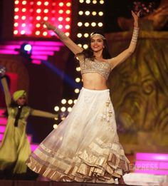Deepika Padukone was a 'sheer' delight in a cream lehenga which was teamed with golden and beige full sleeves blouse. #Style #Bollywood #Fashion #Beauty