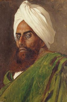 From a series of portraits painted in 1888 by Rudolf Swoboda. Despite having been made Empress of India in 1876 Queen Victoria never visited the country; she was fascinated by its culture and inhabitants. In 1886 she commissioned Swoboda to travel to India and create a series of portraits to show the diversity of the population.
