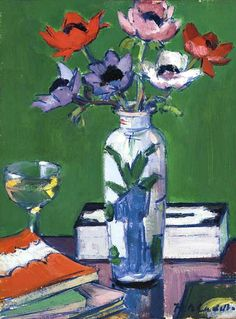 Francis Campbell Boileau Cadell - Still life, anemones Still Life Artists, Arte Floral, Art For Art Sake, Painting Inspiration, Flower Art, Watercolor Art, Abstract, Bouquets, Anemones