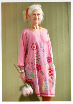 Gudrun Sjoden Vallmo Silk and Cotton Pink Dress, New without tags Size L Mature Fashion, 50 Fashion, Womens Fashion, Fashion Hair, Colourful Outfits, Cool Outfits, Colorful Clothes, Mode Hippie, Estilo Hippie