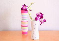patterned vase made with socks!