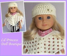 Fits American Girl Doll, Crochet, 2 Pc  Poncho and Hat Set, Ivory, 18 Inch, Handmade Doll Clothes