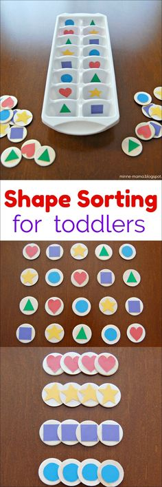 Kyle Shape Sorting Activities for Toddlers from Minne Mama Vorschule Activities Kyle Mama Minne Shape Sorting toddlers Vorschule formenlehre Preschool Learning Activities, Sorting Activities, Infant Activities, Shape Activities For Preschoolers, Shapes Toddlers, Children Activities, Color Sorting For Toddlers, 2 Year Old Activities, Sorting Games