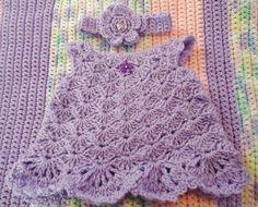 CROCHETED BABY DRESS with MATCHINg HEADBANd
