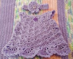 CROCHETED BABY DRESS with MATCHINg HEADBANd