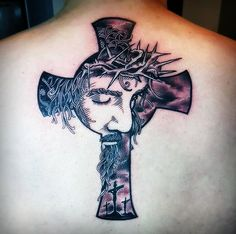 "Jesus Cross on skin. Tattoo artist/shop and subject/canvas are unknown. This is an interpretation of my design ""Jesus Cross"". View The Original Design I'm always flattered and honored when one of m..."
